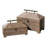 Uttermost 19653 Tadao 16 inch Antiqued Natural Wood Boxes