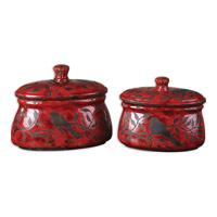 Uttermost Siana Decorative Accessories in Crackled Bright Red 19660