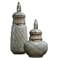 Uttermost Deniz Containers Set of 2 in Distressed Crackled Sea Foam Green 19689