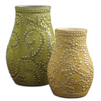 Uttermost Trailing Leaves Vases Set of 2 in Crackled Pale Yellow 19695