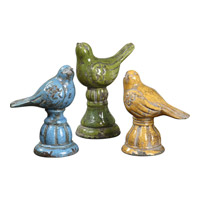 Uttermost Bird Trio Statues Set of 3 in Distressed Crackled Shades of Blue 19705