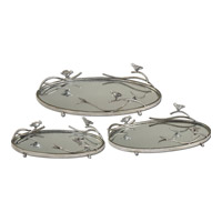 Uttermost Birds On A Limb Tray (Set of 3) in Antiqued Silver 19710