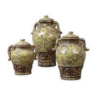 Uttermost Gian Containers Set of 3 in Distressed Crackled Green 19716