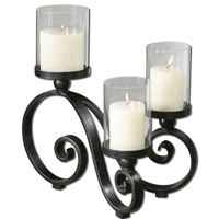 Uttermost Arla Candleholder in Black Crackle 19739
