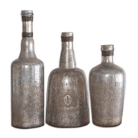 Uttermost Lamaison Bottle Set of 3 in Mercury Glass 19753