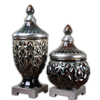 Uttermost Tailor Urn Set of 2 in Dark Blue 19759
