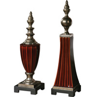 Uttermost Bay Ceramic Finials in Burnt Russet (Set of 2) 19762