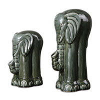Uttermost Green Elephants Set of 2 Figurines 19809