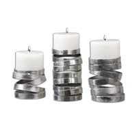 Uttermost Tamaki Set of 3 Candleholders in Silver 19810