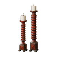 Uttermost Clancy Set of 2 Candleholders in Aged Red 19829