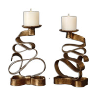 Uttermost Pazia Set of 2 Candleholders in Gold Metal 19853