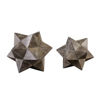 Geometric Stars Aged Charcoal Sculpture