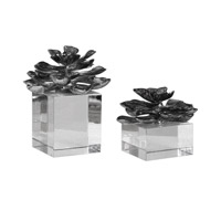 Indian Lotus Metallic Silver Flowers Accents, Set of 2