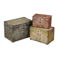 Uttermost Hobnail Boxes Set of 3 Home Accessory in Weathered Reds Mossy Greens And Sandy Browns 20394