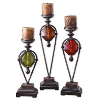 Uttermost Kalika Candleholders Set of 3 Home Accessory in Distressed Translucent Ruby Red Green And Amber 20489
