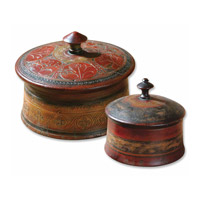 Uttermost Sherpa Boxes Set of 2 Home Accessory in Hues Of Distressed Red And Brown 20800