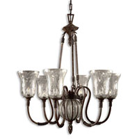 Uttermost 21045 Galeana 6 Light 35 inch Antique Saddle Chandelier Ceiling Light photo thumbnail