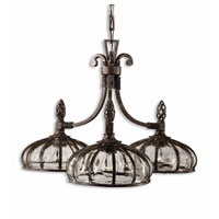 Uttermost Galeana 3-Lt Chandelier in Antique Saddle 21046 photo thumbnail