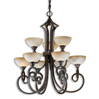 Uttermost Legato 9 Lt Chandelier in Distressed Chestnut Brown 21081