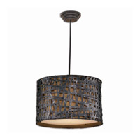 Naturals 3 Light 22 inch Aged Black Metal Hanging Shade Ceiling Light