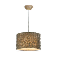 Uttermost 21105 Naturals 3 Light 19 inch Hand Rubbed Ivory Hanging Shade Ceiling Light