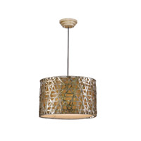 Uttermost 21108 Naturals 3 Light 22 inch Silver Leaf Metal Hanging Shade Ceiling Light