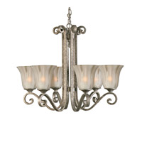 Uttermost Lyon 6 Lt Chandelier in Heavily Antiqued Mottled Silver Leaf 21146