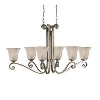 Uttermost Lyon 6 Lt Oval Chandelier in Heavily Antiqued Mottled Silver Leaf 21147