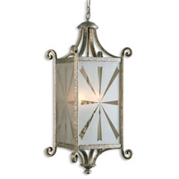 Uttermost Lyon 4 Lt Lantern in Heavily Antiqued Mottled Silver Leaf 21148 photo thumbnail