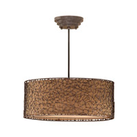 Brandon 3 Light 22 inch Distressed Dark Brown Hanging Shade Ceiling Light