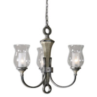 Uttermost Gilman 3 Light Chandelier in Aged Ivory and Antique Silver 21238