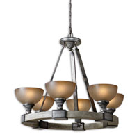 Uttermost Gilman 6 Light Chandelier in Aged Ivory and Antique Silver 21240 photo thumbnail