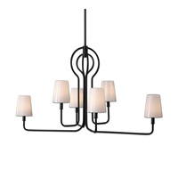 Articulo 6 Light 49 inch Black Iron Chandelier Ceiling Light