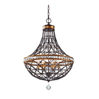 Uttermost Cestino 6 Light Pendant in Golden Bronze 21292
