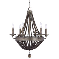Uttermost 21315 Thursby 6 Light 22 inch Dark Oxidize Aged Brass Chandelier Ceiling Light