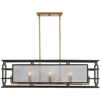 Uttermost 21343 Holmes 8 Light 42 inch Sanded Black and Antique Brass Linear Chandelier Ceiling Light