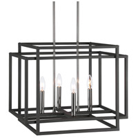 Uttermost 21528 Quadrangle 4 Light 20 inch Black and Polished Nickel Pendant Ceiling Light