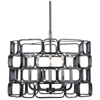 Uttermost 21530 Becton 5 Light 23 inch Matte Black and Polished Nickel Pendant Ceiling Light