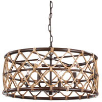 Uttermost 21534 Hilo 4 Light 22 inch Oil Rubbed Bronze Drum Pendant Ceiling Light