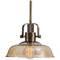 Uttermost 21539 Kinnard 1 Light 14 inch Amber Glass Pendant Ceiling Light