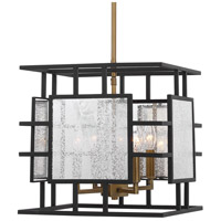 Uttermost 21543 Holmes 4 Light 14 inch Sanded Black and Antique Brass Pendant Ceiling Light