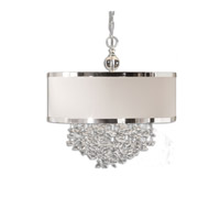 Uttermost 21908 Fascination 3 Light 22 inch Cascading Crystals and Off-White Linen Shade Hanging Shade Ceiling Light