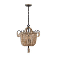 Uttermost 21992 Civenna 3 Light 19 inch Natural Wood and Aged Black Pendant Ceiling Light