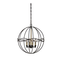 Onduler 4 Light 20 inch Dark Bronze And Antique Brass Pendant Ceiling Light