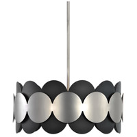 Zooey 3 Light 20 inch Textured Black and Satin Nickel Pendant Ceiling Light
