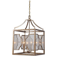 Uttermost 22142 Cates 4 Light 16 inch Warm Antiqued Silver Leaf Lantern Pendant Ceiling Light