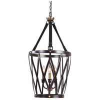 Uttermost 22148 Marlandin 3 Light 16 inch Oil Rubbed Bronze and Dark Leather Lantern Pendant Ceiling Light