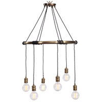 Uttermost 22149 Milo 6 Light 26 inch Antique Brass Chandelier Ceiling Light Industrial Ring