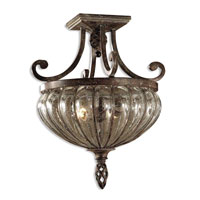 Galeana 2 Light 15 inch Antique Saddle Semi Flush Mount Ceiling Light