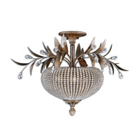 Cristal De Lisbon 3 Light 29 inch Golden Bronze Semi Flush Mount Ceiling Light